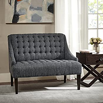 Tristan Button Tufted Settee Charcoal See below