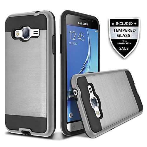 J3 Case, Express Prime Case, Amp Prime Case, SAUS Slim Brushed Metal Texture Hybrid Dual Layer Slim Protector Case Cover For Samsung Galaxy J3 (Vintage Character Port)