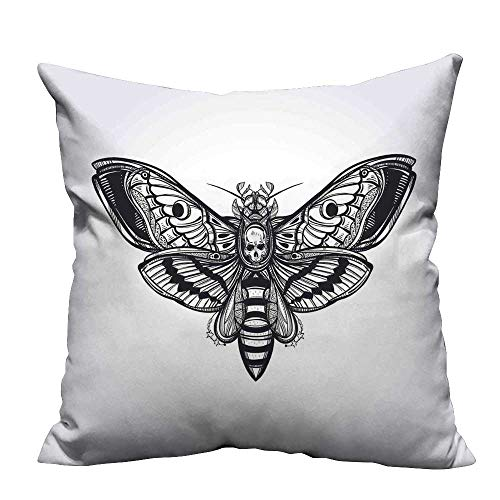 YouXianHome Sofa Waist Cushion Cover Moth Skull Face Gothic Butterfly Inner Self Journey Black Decorative for Kids Adults(Double-Sided Printing) 27.5x27.5 inch