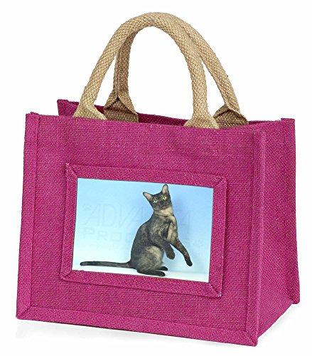 Advanta–Mini Pink Jute Tasche Pretty asiatischen Smoke Katze Little Mädchen klein Einkaufstasche Weihnachten Geschenk, Jute, pink, 25,5x 21x 2cm