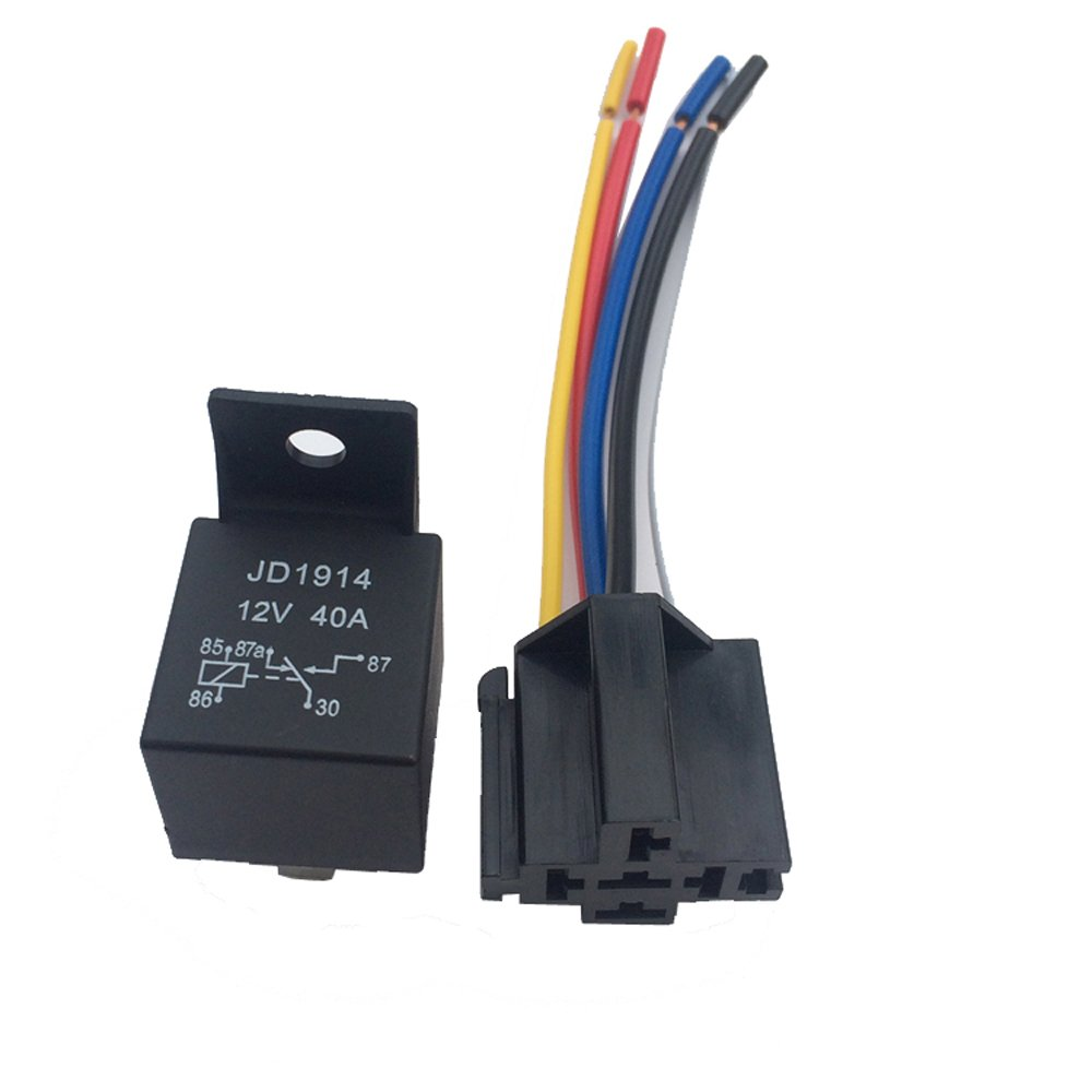 Rel/é para coche Modificaci/ón del navegador GPS 12V 40A AMP 5 SPDT,Rel/é de autom/óviles con 5 Pin Socket