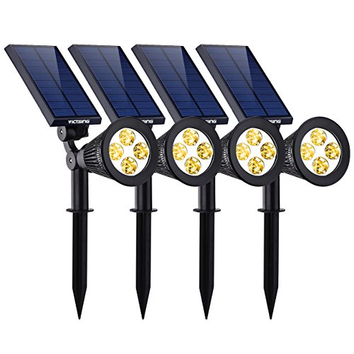 VicTsing 4 Pack Solar Spotlights, 2-in-1 Waterproof Outdoor Adjustable 4 LED Landscape Solar Lights Wall Light for Driveway, Yard, Lawn, Garden,Pathway, Pool-Warm Light by VicTsing