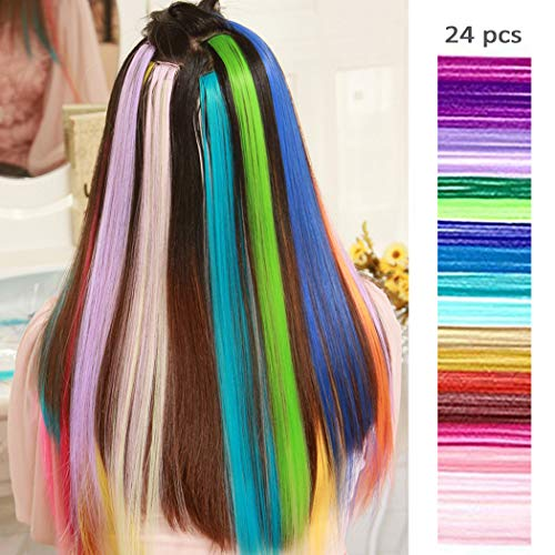 Multi colors Highlights Synthetic Extensions%EF%BC%8Cstraight Hairpiece product image