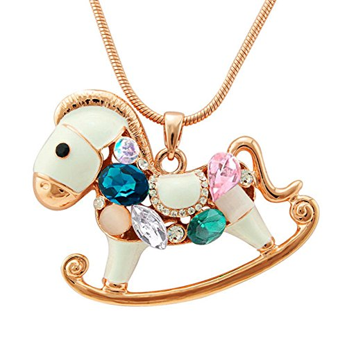 QTMY Diamond Trojan Horse Long Chain Necklace Bohemian Jewelry with Big Elephant Pendant for Women