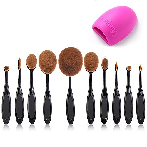 BeautyKate Pro 10 Pcs Oval Makeup Brush Set Foundation Contour Concealer Blending Cosmetic Brushes +1 Brush Cleaner