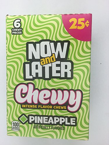 Now and Later Chewy Pineapple Flavored Candy Twenty Four 6-piece .93 oz Bars