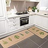 Hihome 2-Pack Kitchen Mat Set, Non-Slip Imitation Linen Kitchen Rug Doormat Bedroom Area Rug Floor Mats se
