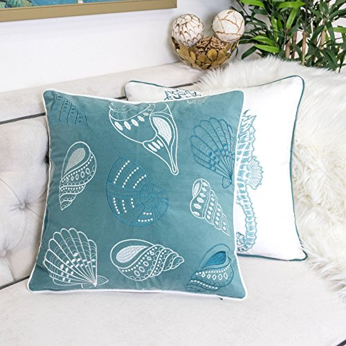Homey Cozy Embroidery Teal Velvet Seashell Throw Pillow Cover,Ocean Series Nautical Decorative Pillow Case Coastal Beach Theme Home Decor 20x20,Cover Only