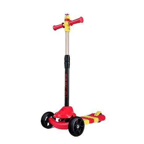 Fascol DIY Patinete Scooter de Empalme con 3 Ruedas para 2 a 7 Años Niños Max Carga 50 kg,Rojo