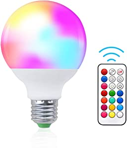 Bonlux G25 RGB Color Changing LED Globe Light, 10W E26 Medium Base LED Dimmable Multicolor Smart Bulb for Stage Holiday Home Party Decoration Light, Timing Remote Control Included (RGB+Daylight)
