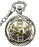 Fire Fighter Design Case for Quartz Pocket Watch with Chain(Silver)