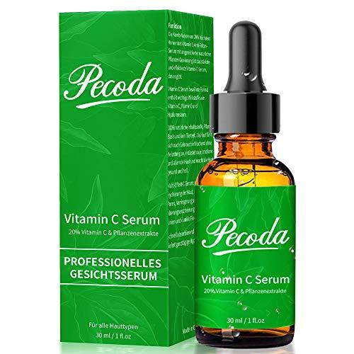 Vitamin C Serum für Gesicht mit BIO Hochdosiert 20% Vitamin C + Hyaluronsäure + Vitamin E. Organisch AntiAging + Anti Falten Gesichtsserum, Natürliche Hyaluron Feuchtigkeitsserum für Haut.