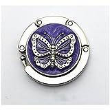 LingStar Fashion Round Folding Butterfly Accent Hook Purse Handbag Table Hanger Purple Folding Handbag Purse Hanger Hook