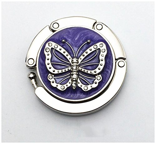 Butterfly Folding Tables (LingStar Fashion Round Folding Butterfly Accent Hook Purse Handbag Table Hanger Purple Folding Handbag Purse Hanger Hook)