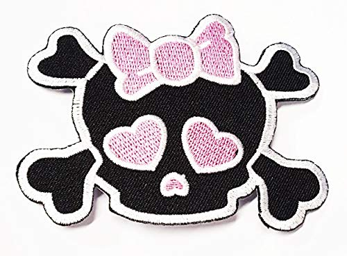 HHO Cute Pretty Skull Crossbones Girl with Pink Bow Punk Rock Embroidered DIY Patches, Cute Applique Sew Iron on Kids Craft Patch for Bags Jackets Jeans Clothes