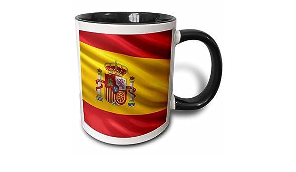 3dRose - Taza de cerámica, diseño de Bandera de España, 10,16 x 7,62 x 9,52 cm, Color Negro: Amazon.es: Hogar