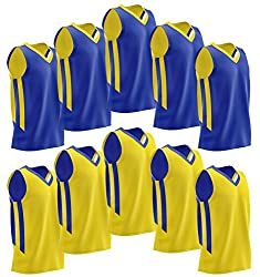 Liberty Imports [10 Pack] Reversible Men's Mesh Performance Athletic Basketball Jerseys for Team - Premium Adult Scrimmage Sports Training Bulk