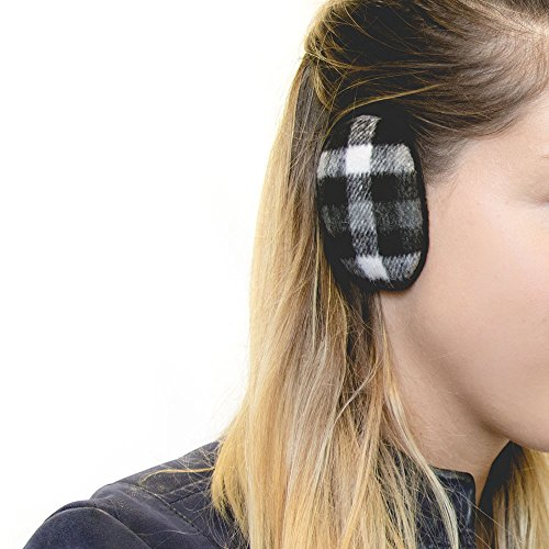 Sprigs Earbags Plaid Black/White LG (Ear Bandless Warmers)