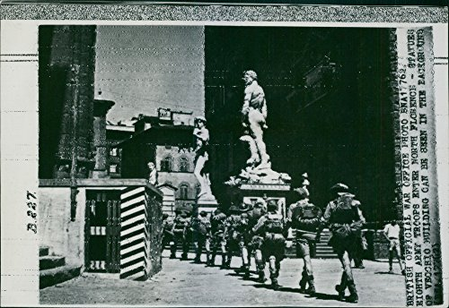 Vintage photo of Eight Army troops enter North Florence, statue of Vecchio building can be seen in the background, - Florence Statues In