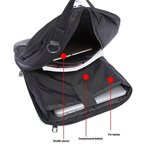 Mochila para Portátil, 3-en-1 Bolsa Bandolera/Maletin/Backpack de Hombres para Laptop 15.6 Pulgada, Impermeable Netbook Dayback para Universidad/Negocios/Trabajo, Negro Elegant Grey