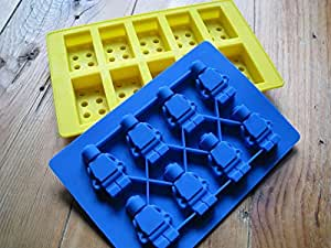 Lego brick AND minifigure silicone jelly chocolate ice cube cake mold tray USA