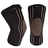 Thx4 Copper Sports Compression Knee Sleeve for Joint Pain and Arthritis Relief, Improved Circulation Support for Running, Jogging, Workout, Gym-Best Knee Sleeve-Single-Large…