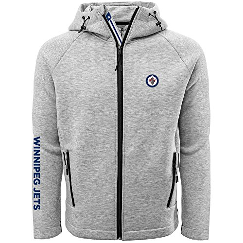 - Levelwear LEY9R NHL Winnipeg Jets Adult Men Titan Banner Stripe Full Zip Hooded Jacket, X-Large, Heather Pebble