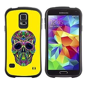 Suave TPU Caso Carcasa de Caucho Funda para Samsung Galaxy S5 SM-G900 / Hippie Lsd Weed Yellow Skull Deep / STRONG