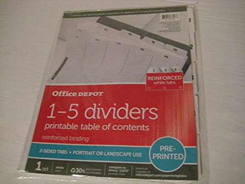 Office Depot® Brand Table Of Contents Customizable Index With Preprinted Tabs, White Colored Numbered 1-5 (Colored Dividers Index Preprinted)