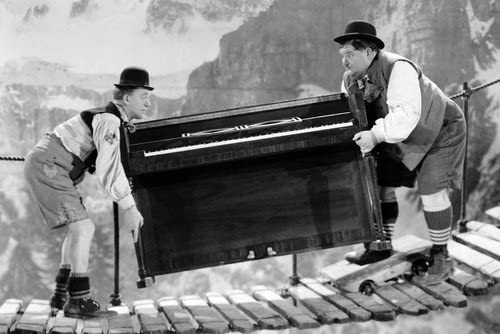 Laurel and Hardy The Music Box Poster COLOUR Piano