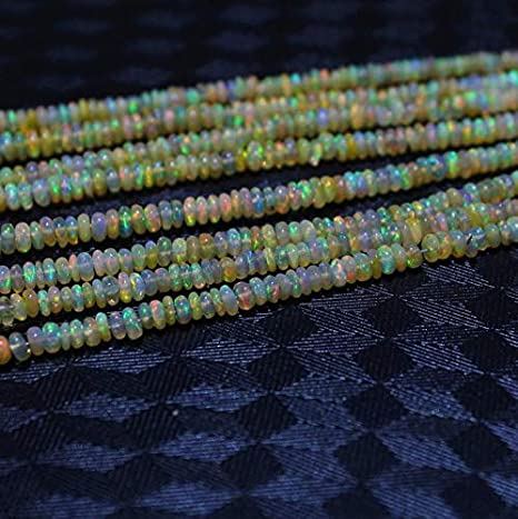 Excellent Super Top Quality,Natural Ethiopian Welo Fire Black Opal 3-7 MM Smooth Square Heishi Beads 16 Inch Strand,Necklace,Gift for her