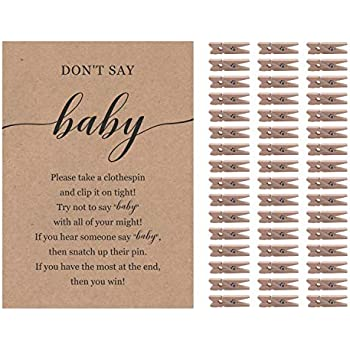 11.25x 6 Neutral Lillian Rose 24BS230 CG Woodland Clothespin Baby Shower Game