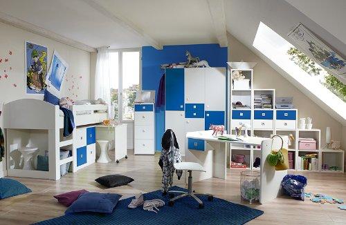 Komplett Jugendzimmer Weiss Blau Jugendbett Kleiderschrank