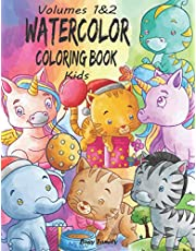 Watercolor Coloring Book Kids: (Volumes 1&2) 12 ADORABLE High-Quality Coloring Pages + 12 Inspiring REFERENCE Pages. Baby Unicorns, Baby Dinosaurs, Baby Cats, and Much More. The Best Gift for Kiddos!