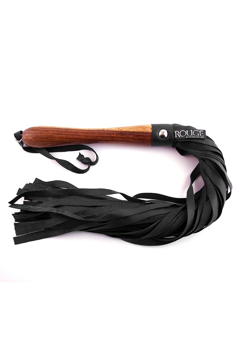 ROUGE GARMENTS Bondage Flogger with Wooden Handle, 23'' Tan/Black by Rouge Garments