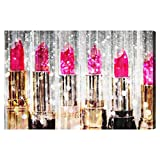 Lipstick Collection' Contemporary Canvas Wall Art Print for Home Decor and Office. The Fashion Wall Decor Collection by The Oliver Gal Artist Co. Gallery Wrapped and Ready to Hang. 30x20 inch