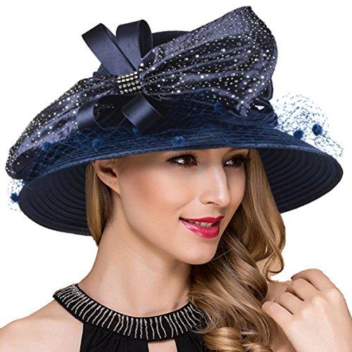 Church Tea - Women Kentucky Derby Church Dress Cloche Hat Fascinator Floral Tea Party Wedding Bucket Hat S052 (SD706-Navy)