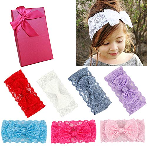 Elesa Miracle Hair Accessories Sweet Baby Girl's Gift Box with Chiffon Lace Hair Bow Flower Headband (7pc lace bow) (Satin Flower Headband)