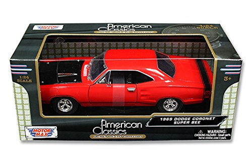 [New 1:24 W/B MOTOR MAX AMERICAN CLASSICS COLLECTION - RED 1969 DODGE CORONET SUPER BEE Diecast Model Car By MOTOR MAX] (1969 Dodge Coronet Super Bee)