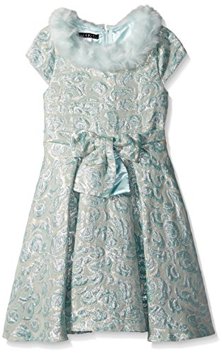 Biscotti Little Girls' Charmed Life Dress with Faux Fur, Aqua, 5 by Biscotti