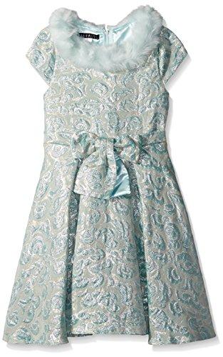 Biscotti Big Girls' Charmed Life Dress with Faux Fur, Aqua, 10 by Biscotti