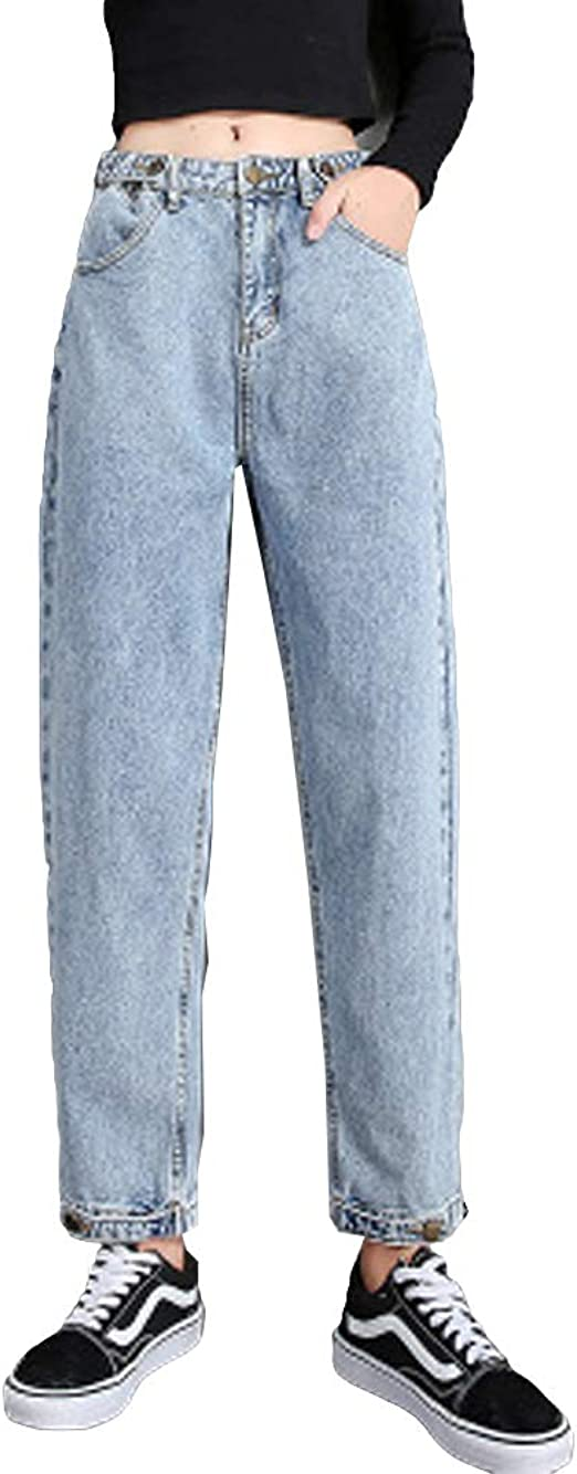 ZUOMAデニムパンツ レディース ハイウエスト ハーレムパンツ ストレート 着痩せ ベルト穴あり ゆったり ボタン裾(調整可能) スリム ジーンズ
