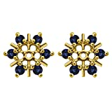 1/2 ct. Sapphire Genuine Sapphire Round Cluster Stud Earring Jackets in Yellow Plated Sterling Silver (0.48 ct. twt.)