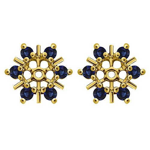 1/2 ct. Sapphire Genuine Sapphire Round Cluster Stud Earring Jackets in Yellow Plated Sterling Silver (0.48 ct. twt.) by TwoBirch