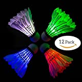 Arespark LED Badminton Shuttlecock, Dark Night Colorful LED Goose Feather Glow Birdies Lighting, Light Up Shuttle-cocks Badminton Balls for Outdoor & Indoor Sports Activities, Pack of 4/8/12/16