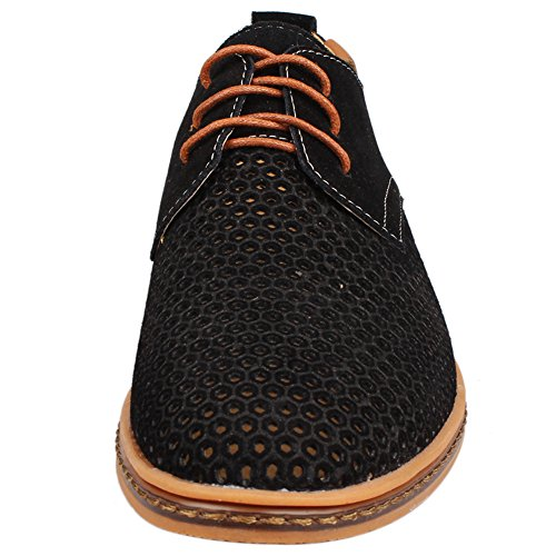 Kunsto Men's Leather Oxfords Dress Shoes Lace up Breathable Upper US Size 10.5 Black