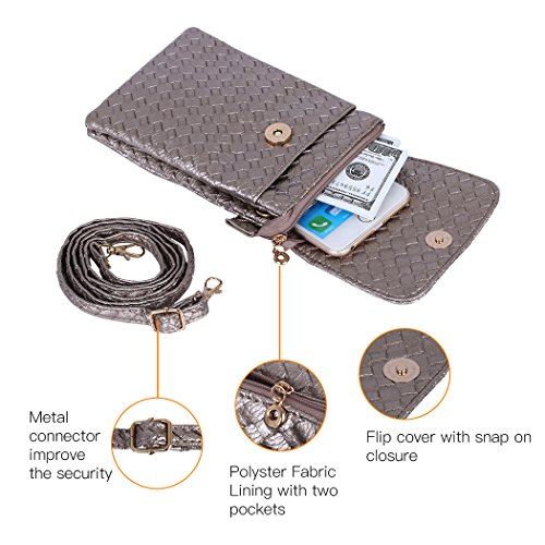 Cell Leather 7 Plus 5 Bosam Small Bag Phone Crossbody Woven 5inch Grey iPhone Phones Purse Cell OzRzwF5nq