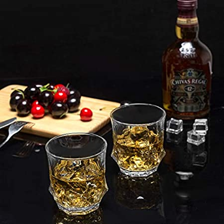LANFULA Vaso de Whisky, Juego de 4 Copas de Whisky Cristal Sin Plomo, 300 ml, Hermosa Caja de Regalo