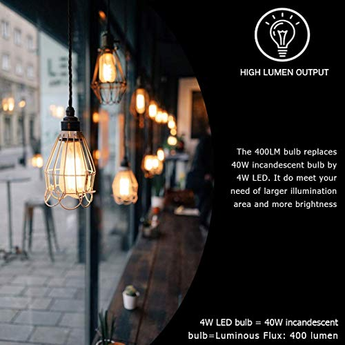 LED Edison Bulb Dimmable Amber Warm 2700K Antique Vintage Style Filament Light Bulbs 40W Equivalent E26 Base 6-Pack by LUXON by LUXON (Image #3)