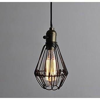 hahaemall style vintage industriel ouverture et de fermeture Garde Lampe à  suspension lampe pendentif cage en